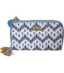 buxton women's mini ikat wave rfid ultimate double zip organizer wallet