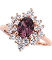 charter club rose gold-tone crystal oval starburst statement ring, created for macy's
