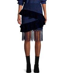 patbo women's velvet & lace fringed mini skirt - navy - size 0
