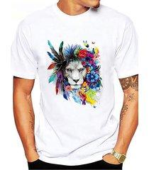 camiseta con estampado animal de plumas de león colorful informal de verano para hombre