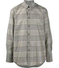 christian wijnants plaid wool twill shirt - brown