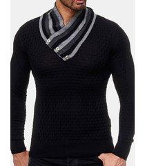 maglione a maniche lunghe per uomo a maniche lunghe in maglia casual maglione base nero