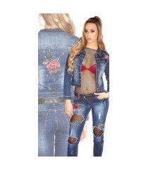 sexy denim-spijkerstof jas met strass steentjes en borduurwerk jeansblauw