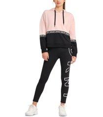 dkny sport women's colorblocked logo-tape hoodie