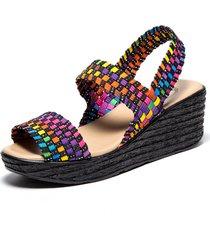 sandali con zeppa in elastan intrecciato