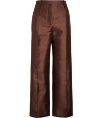 women's givenchy straight leg wool & silk crop pants, size 6 us / 38 fr - brown