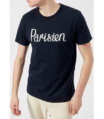 maison kitsuné men's t-shirt parisien - navy - l