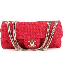 chanel pre-owned baguette quilted tweed handbag - pink