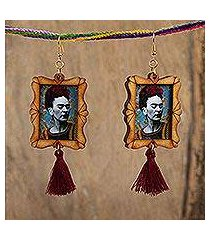 wood dangle earrings, 'frida in profile' (mexico)
