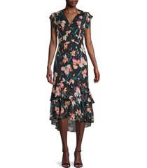 tommy hilfiger women's floral ruffle midi dress - black - size 8