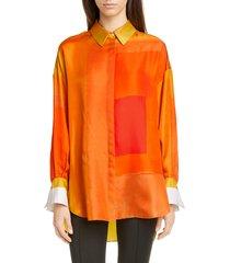women's partow hugo silk shirt, size 8 - orange