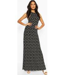 halter neck daisy print maxi dress