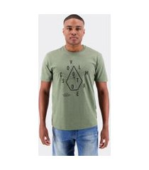 camiseta volcom silk eye chart verde militar mescla