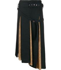 rokh panelled belted midi skirt - blue