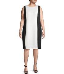 plus colorblock knee-length dress