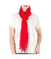 cotton scarf, 'sweet femininity in strawberry' (nicaragua)