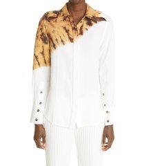 women's proenza schouler women's tie dye cutout button-up shirt, size 4 - ivory