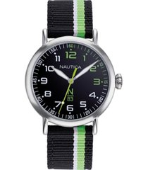 nautica n83 men's napwls913 wakeland black/green stripe fabric strap watch