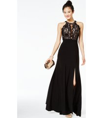 morgan & company juniors' sequined lace & solid gown