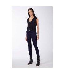 calça basic high skinny amaciada jeans medio - 48