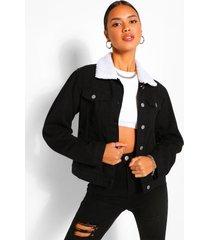 borg collar jean jacket