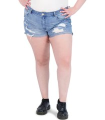 gogo jeans trendy plus size high-rise destructed mom jean shorts