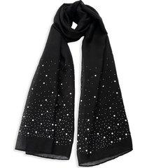 bindya women's faux pearl-embellished scarf - black