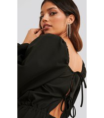 na-kd party square neck open back jumpsuit - black