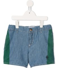bobo choses paul's embroidered denim shorts - blue