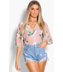 geweven blouse met knopen, blush