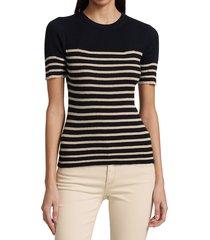 rag & bone women's kate striped short sleeve top - navy beige - size xs