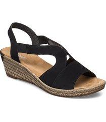 62429-00 sandalette med klack espadrilles svart rieker