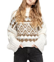 women's free people alpine crop mock neck sweater, size large - ivory