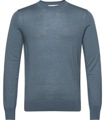 flemming crew neck 3111 gebreide trui met ronde kraag blauw samsøe samsøe