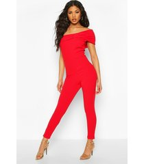 off the shoulder bow detail jumpsuit, red