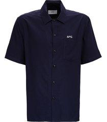 blue bowling shirt in viscose blend