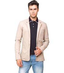 blazer masculino tony menswear slim fit de sarja bege - tricae