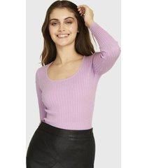 sweater ajustado trenzado lila nicopoly