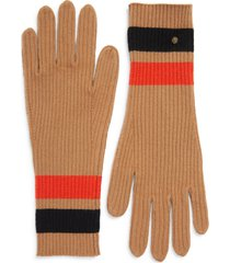 women's burberry monogram motif stripe merino wool & cashmere gloves, size small/medium - brown