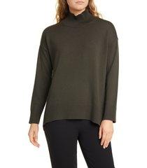 women's eileen fisher mock neck oversize sweater, size x-large - green