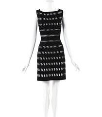 alaia stretch knit cut out dress black/white/geometric sz: m