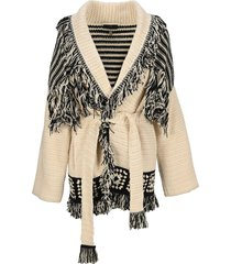 alanui belted waist fringed cardi coat