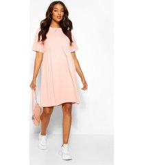 positiekleding gesmokte jurk met ronde hals, blush