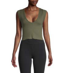 free people movement women's cotton-blend cropped tank top - glow - size l
