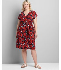 lane bryant women's knit cap-sleeve fit & flare lena dress 28 red/navy