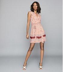 reiss stephanie - printed mini dress in pink, womens, size 14