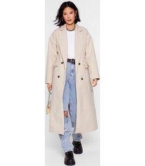 womens double it up faux wool longline coat - cream