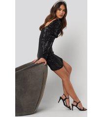 na-kd party puff shoulder sequin mini dress - black