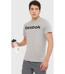 camiseta gris-negro reebok logo tee
