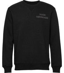 new standard crewneck emb sweat-shirt trui zwart mads nørgaard